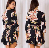 Sexy Deep V Neck Floral Printed Mini Party Dress Lady Beach Dresses