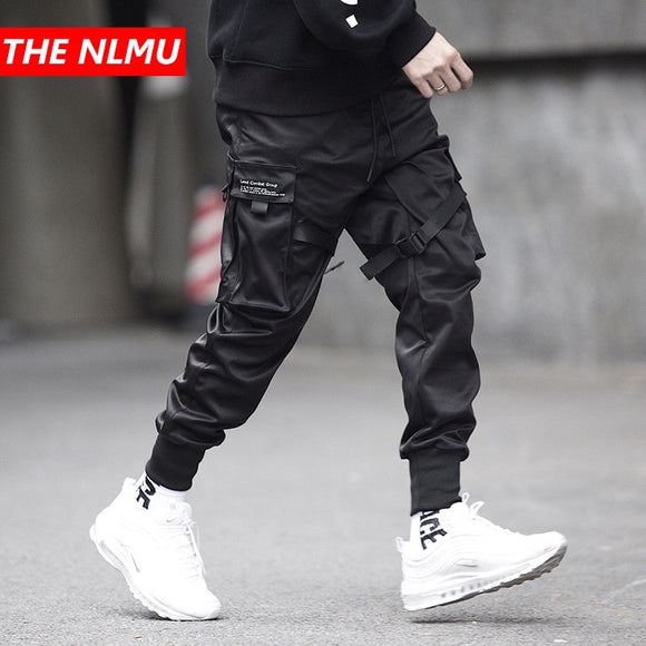 Mens Multi-pocket Elastic Waist Design Harem Pant Streetwear Trousers
