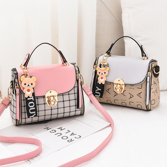 New Cute Type Ladies PU Handbag High Quality 2019 Hot Sale Small Girls Exquisite Color Matching Casual Fashion Small Square Bag