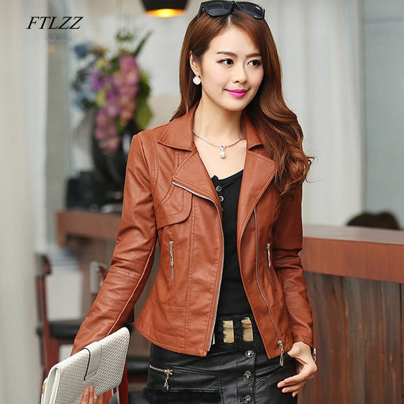 Leather Jacket Autumn Women Slim Motor Outwear Coat