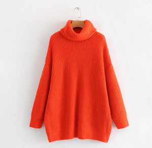 Winter Candy Color Sweater Hot pink Mustard  Knitted Jersey women