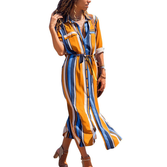 2019 Turn Down Collar Office Ladies Stripe Shirt Dress Long