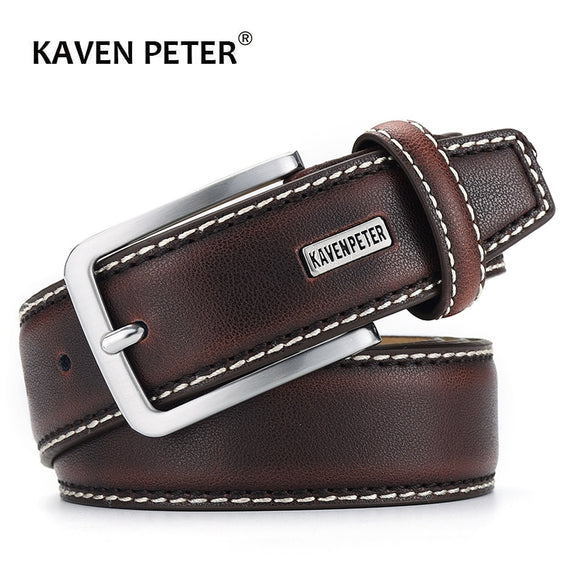 Mens Genuine Leather Luxury Designer Brown Vintage Waist Belt