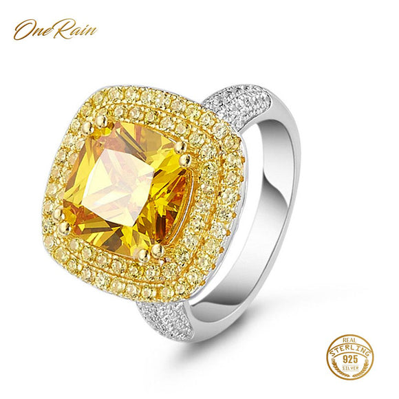 OneRain Luxury 100% 925 Sterling Silver Citrine Diamonds Wedding Engagement Cocktail Party For Women Ring Jewelry