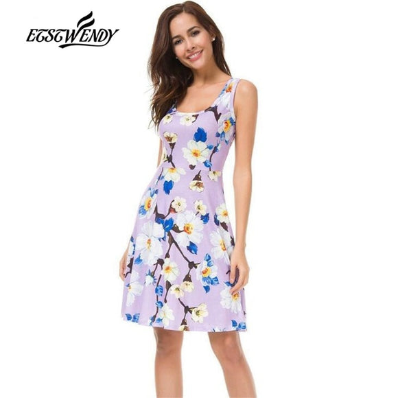 New Summer Fashion Sweet Style 2019 Women Dress Sleeveless Tank Floral Print Dress Mini Sexy Beach Dresses Vestidos Cotton Dress