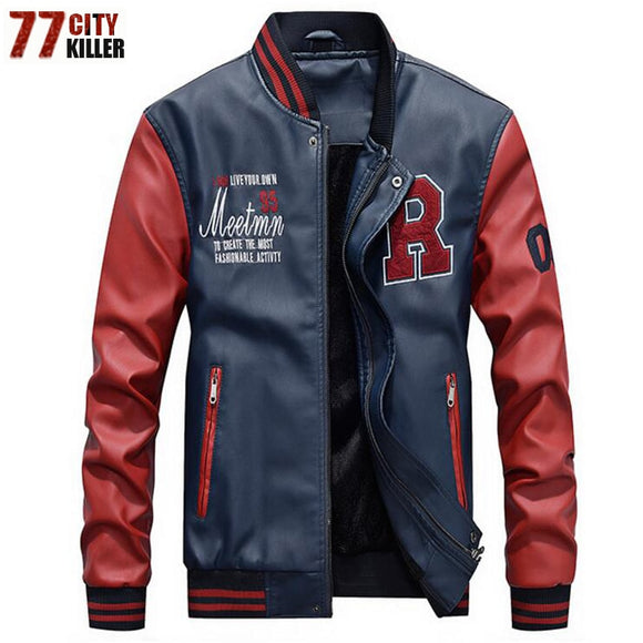 New 2019 Brand Embroidery Baseball Jackets Men Pu Faux Leather Jacket Male Casual Luxury Fleece Pilot Letter Stand Bomber Coat