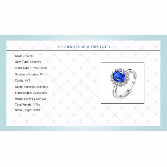 CZCITY Princess Diana William Kate Gemstone Rings Sapphire Blue