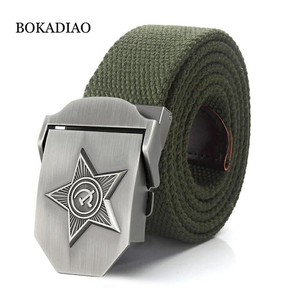 BOKADIAO Canvas luxury 3D Five Rays Star Metal buckle belts