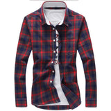 5XL Plaid Shirts Men Checkered Shirt Brand 2019 New Fashion Button Down Long Sleeve Casual Shirts Plus Size