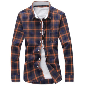 5XL Plaid Men Checkered Shirt Brand New Fashion