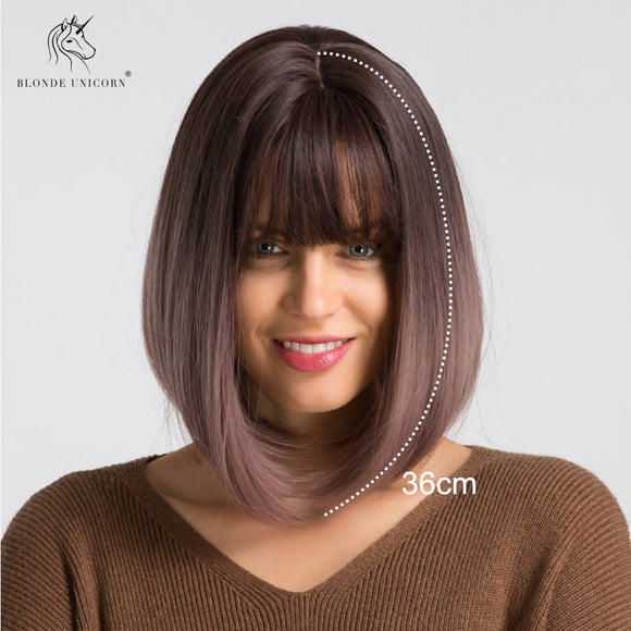 Synthetic Short Bob Wig Ombre Light Purple 14 Inch Straight Wigs For Womens