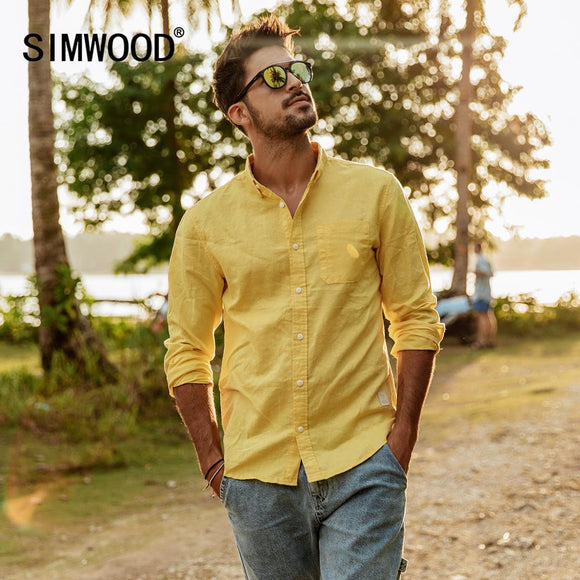 SIMWOOD 2019 spring summer new pure linen cotton shirts men cool Breathable classic basic shirt male high quality  190125
