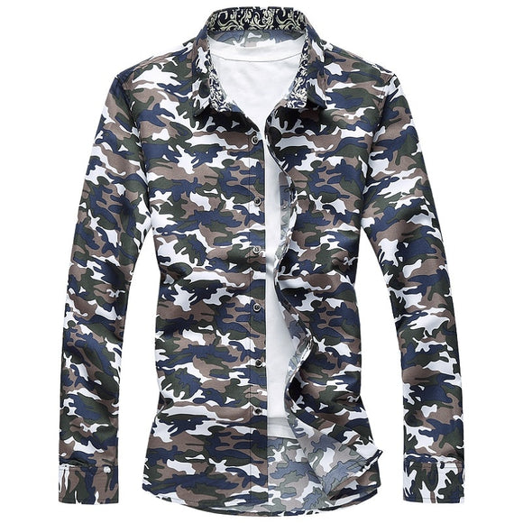Camo Hawaiian Button Down Long Sleeve Casual Shirts