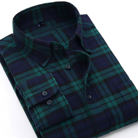 Plaid Shirt Autumn Flannel Red Checkered Shirt Men Long Sleeve