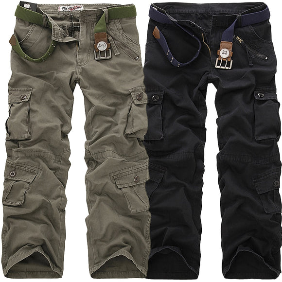 Men's Cargo Pants Casual Loose Multi Pocket Military Long Trousers