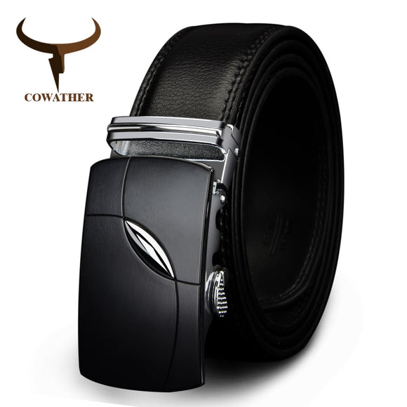 COWATHER 2019 cow genuine leather belts for men automatic alloy buckle black brown color  free shipping cz035