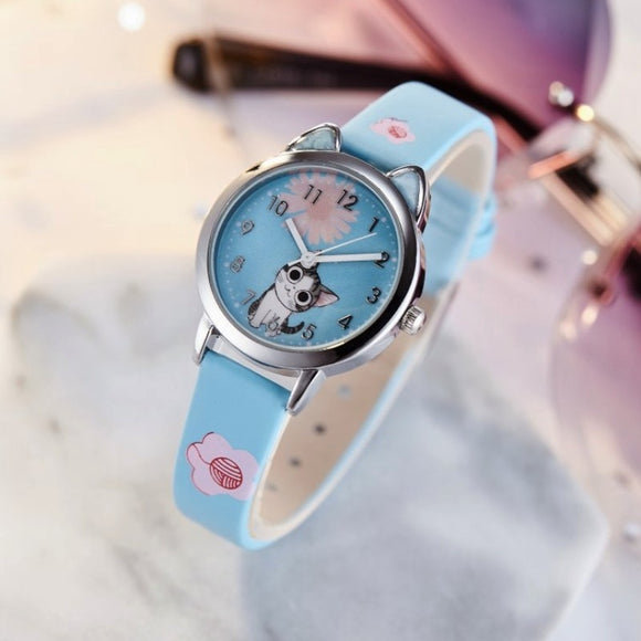 Girls Boys Cute Cats Pattern Kids Watch Women Simple Casual Quartz Watch Ladies Fashion Wristwatches Children Watches Best Gift