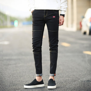 Men's Korean Edition Black Nine-cent Slim Jeans Stretch Pants Trousers