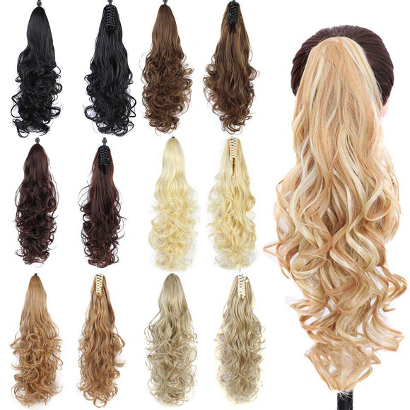 WIG  Synthetic Long Wavy Hair Extensions Pony Tail Hairpiece Black Brown  Women
