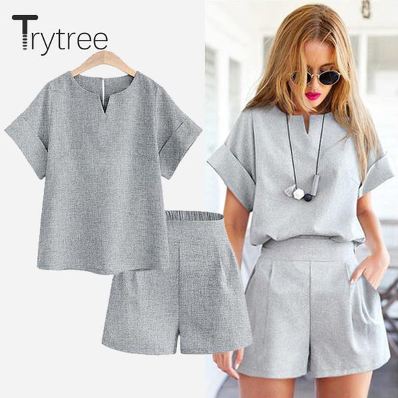 Trytree Spring summer Women two piece set Casual Cotton tops + short Soild Female Office plus size Suit Set Short Sleeve Sets