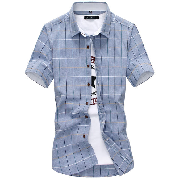 Plaid shirts Men 100% Cotton Short Sleeved Summer Casual