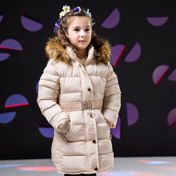 Girls Winter Coat Hooded Fur Collar Children Jackets Cotton Parka Coat