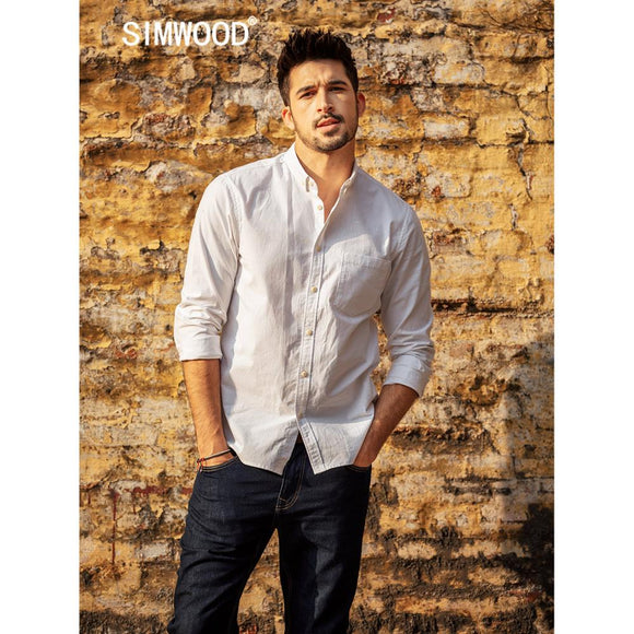 SIMWOOD 100% Cotton Shirts Men Classical Casual Chest Pocket 2019 Spring Summer New High Quality Shirt  190068