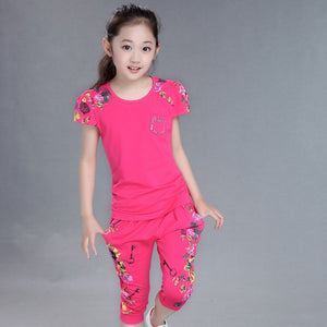 Girls Clothes Set Short Sleeve T-Shirt And Pants for 4-14 Years