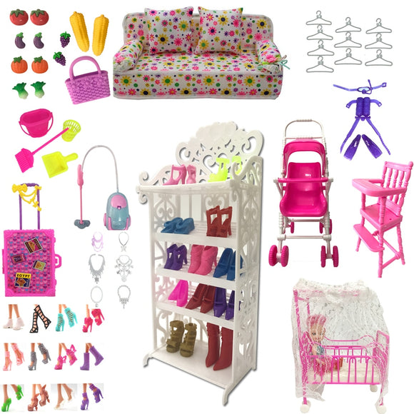 NK Mix Plastic Furniture Mini Play Toy Shoes Bag Hanger For Barbie