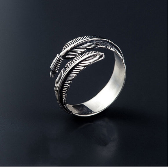 High-quality Thai Silver Female Personality Feathers Arrow Open Ring
