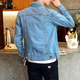 Spring Autumn Mens Trendy Fashion Bomber Thin Ripped Denim Jacket