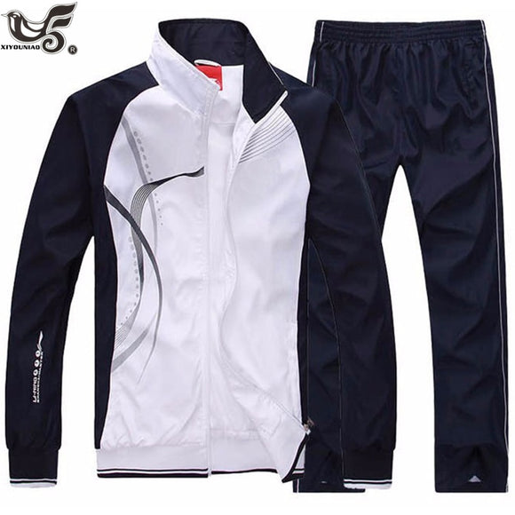 Men's Autumn Sportswear 2 Piece Set Suit Jacket+Pant Sweatsuit