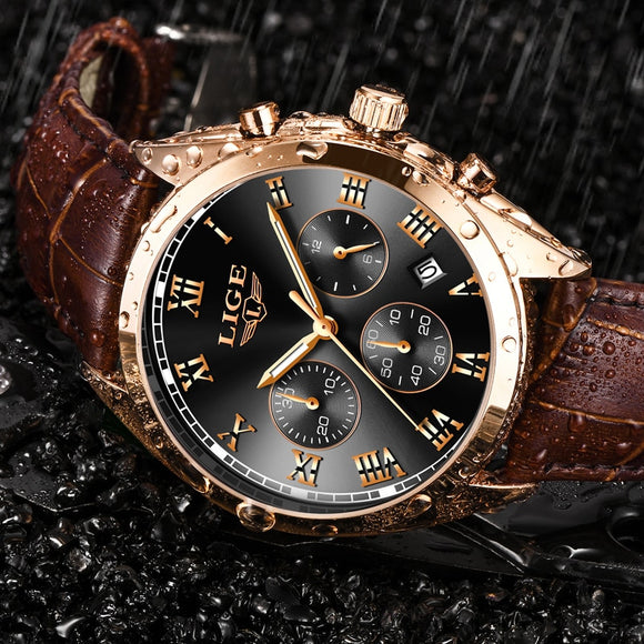 Mens Luxury Waterproof 24 Hour Date Quartz Leather Sport Wrist Watch