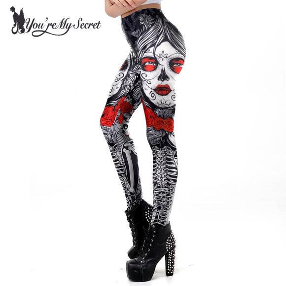 [You're My Secret] 2019 New Leggins Halloween Sugar Skull Leggings For Women Girl Rose Print Fantastic Workout Party Ankle Pant