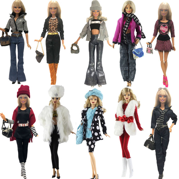 NK 2019 One Set New Doll Clothing  Model Casual Suits Coat  Bags  For Barbie Doll Best Gift Baby Toy  DIY Accessories JJ