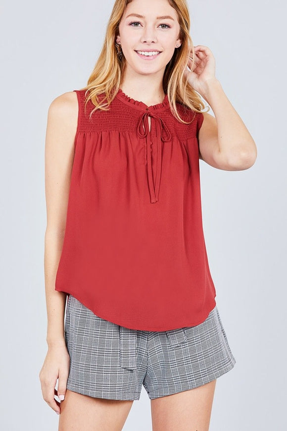 Sleeveless Ruffle Neck Front Button Woven Top w/ Self Tie