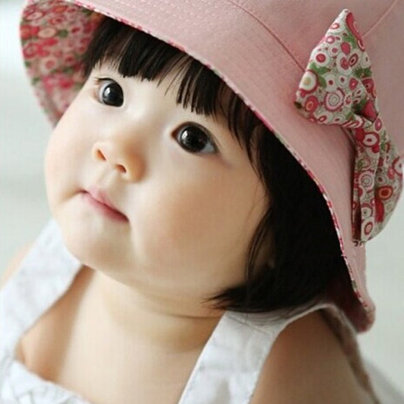 2019 Hot Flower Printed Cotton Baby Summer Hat Kids Girls Cute Bow Knot Cap Sun Bucket Hats Fashion Double Sided Can Wear