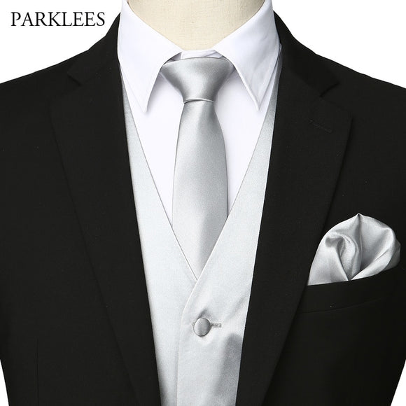 4 Pieces Satin Vest Men(Suit Vest+Tie+Pocket Square+bow tie)Mens Sleeveless Wedding Dress Vests Stage Costume Tuxedo Waistcoat