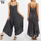 Womail bodysuit Women Summer Strappy Jumpsuit plus size Fashion