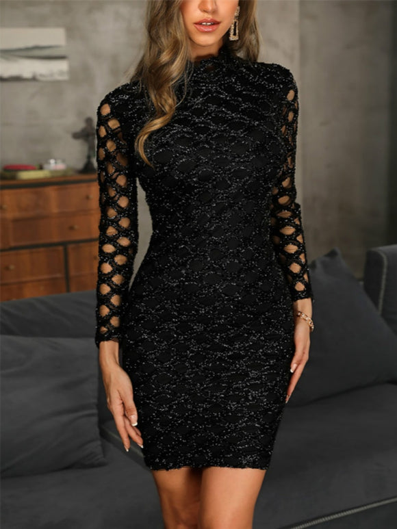 2019 Women Dress Evening Gown Black Long Sleeve Sexy Elegant Lady Bodycon Hollow A-line Short Dresses Party Night Summer