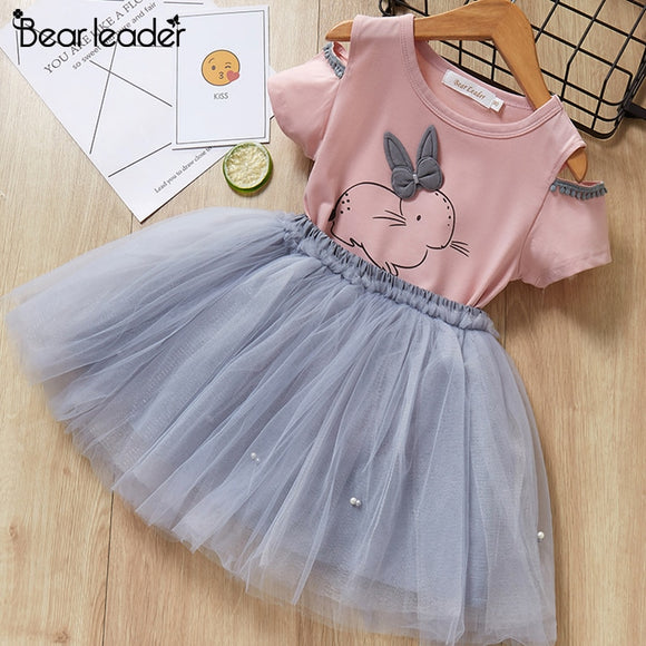 Bear Leader Girls Clothing Sets New Summer Fashion Style Cartoon Rabbit  Printed T-Shirts+Pink Dress 2Pcs Girls Clothes Sets