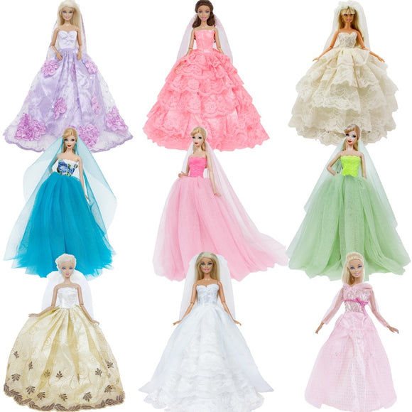 Handmade Wedding Dress Princess Evening Party For Barbie Doll Accessories xMas Gift Toy