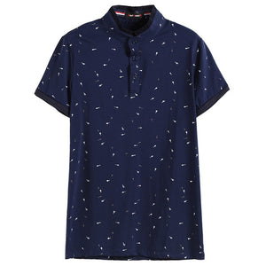 Guitar Printed Stand Collar Polo Shirt Men Short Sleeve Casual