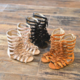 Suede leather Girls sandals Real Female Boots Kids gladiator sandals