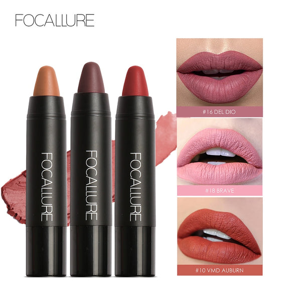 FOCALLURE 19 Lip Colors Mattes Lipsticks Waterproof Matte Lipstick Lip Sticks Cosmetic Easy to Wear Matte Batom Makeup Lipstick