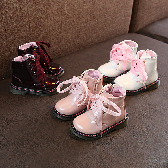 Children Martin Boots PU Waterproof Boys Shoes Fashion Girls Princess Boots Baby Kids Snow Boots