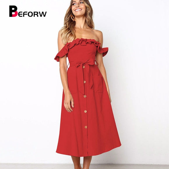 BEFORW Female Sexy Off Shoulder Midi Dress Elegant Ruffles Dresses