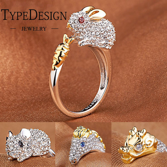 12Colors Resizable Chinese Zodiac Animal zircon golden engagement ring