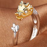 12Colors Resizable Chinese Zodiac Animal zircon golden jewelry engagement rings dragon snake rabbit men women's Valentine's gift