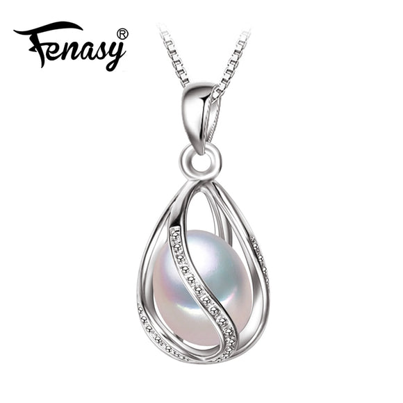 FENASY Jewelry cage Party style Freshwater Pearl Silver Pendant